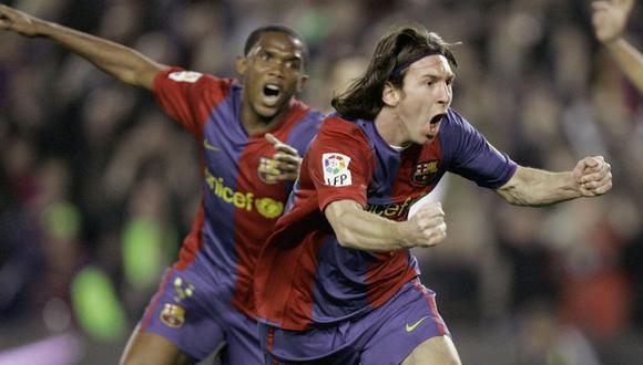 Eto'o y Messi jugaron juntos 105 partidos oficiales entre 2004 y 2009 con Barcelona. (Foto: AFP)