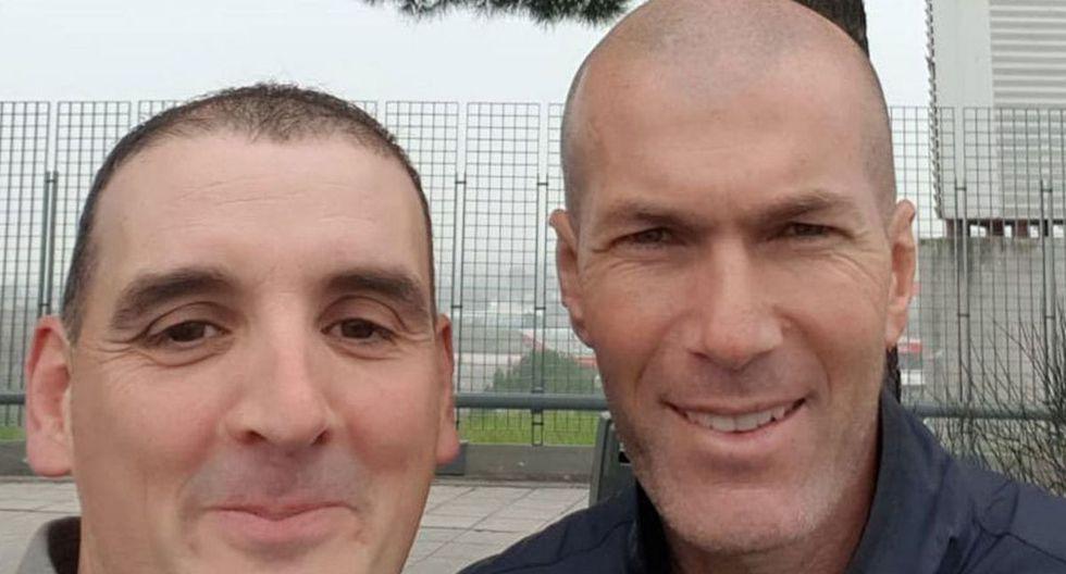 Zinedine Zidane y el hincha al que le chocó su auto fuera de Valdebebas. (Foto: Ignacio Fernández)