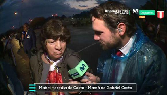 La mamá de Gabriel Costa mostró su entusiasmo al ver a su hijo defender los colores de la Selección Peruana. (Captura)