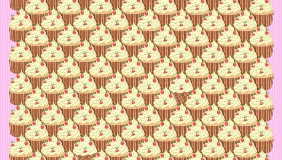 Este reto viral nos muestra cupcakes ubicados en orden y entre ellos tenemos dos conos de helado ocultos que pondrán a prueba tu observación.