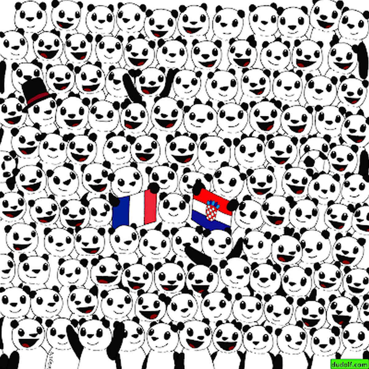 Entre los pandas que ves en la imagen, hay una pelota de fútbol. Encuéntrala y supera el reto viral. (Foto: dudolf.com)