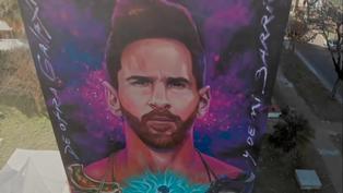 Dedican mural gigante a Lionel Messi en su Rosario natal