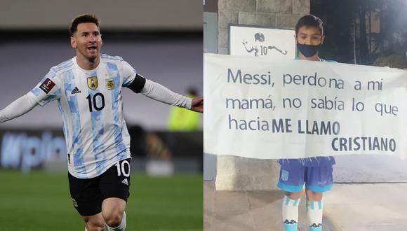 Las disculpas del niño Cristiano a Lionel Messi. (Foto: AFP / Gastón Edul)