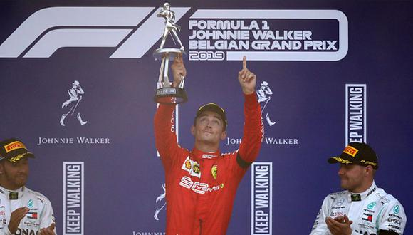 Charles Leclerc en el podio del Gran Premio de Bélgica. (Foto: Getty Images)