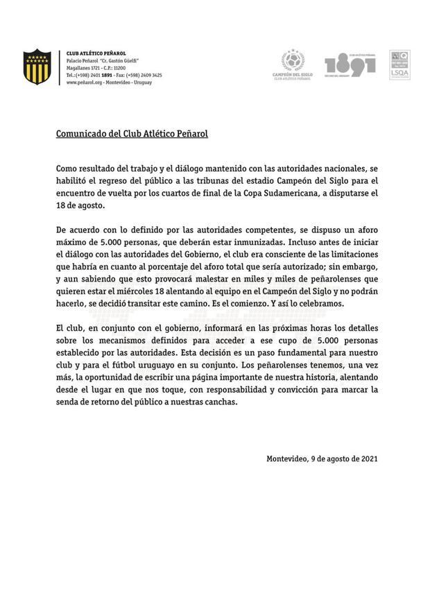 Peñarol recibirá a Sporting Cristal en un estadio con la presencia de público. (Foto: Peñarol)