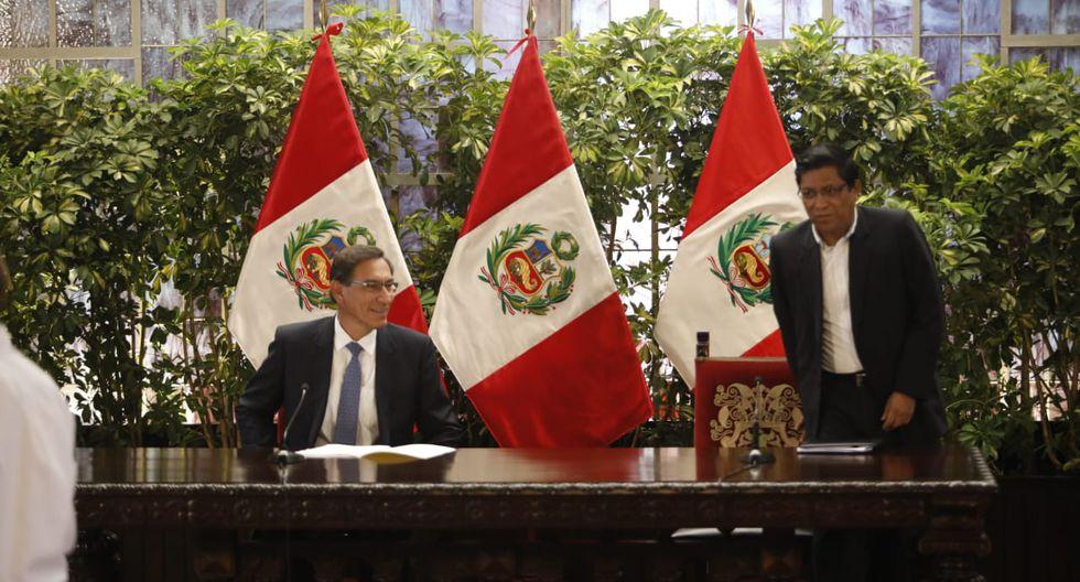 El presidente Martín Vizcarra participó de una conferencia de prensa junto al jefe del Gabinete, Vicente Zeballos (Foto: GEC)