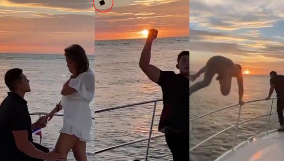 Un video viral tiene como protagonista a un novio que le jugó una broma pesada a su futura esposa durante su pedida de mano a bordo de un yate.| Crédito: @miles_vs / @a_zalesov / @olya_kayy, @dmitry3000 / @romka / Instagram.