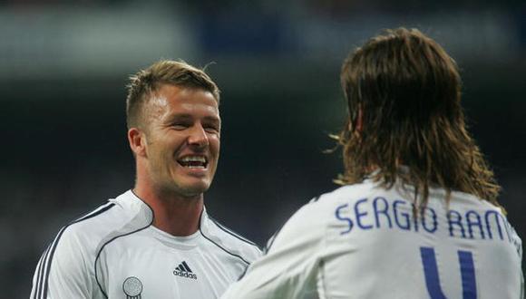 Sergio Ramos y David Beckham fueron compañeros en el Real Madrid. (Getty)