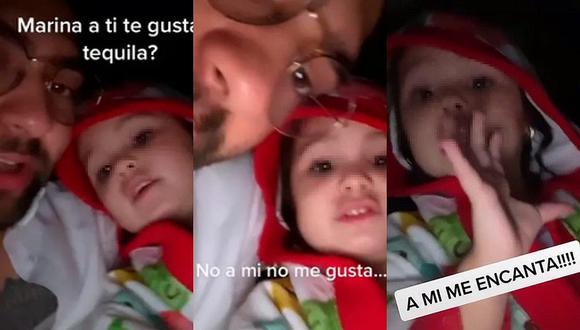 Si bien Marina no consume tequila por ser una niña, su voz es usada en diversos videos de TikTok. (Foto: @alvaroalvarez137 TikTok / Composición)