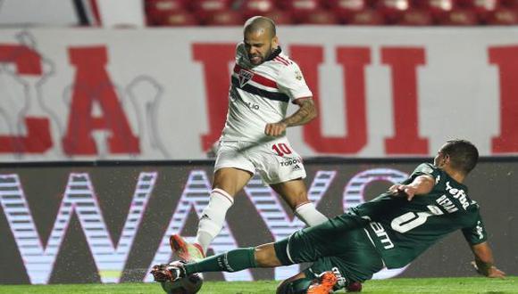 Sao Paulo y Palmeiras igualaron 1-1 en el duelo de ida por cuartos de final de Copa Libertadores 2021. (Foto: Twitter)