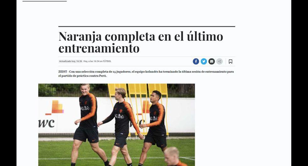 Perú chocará contra Holanda, este jueves. (Captura)