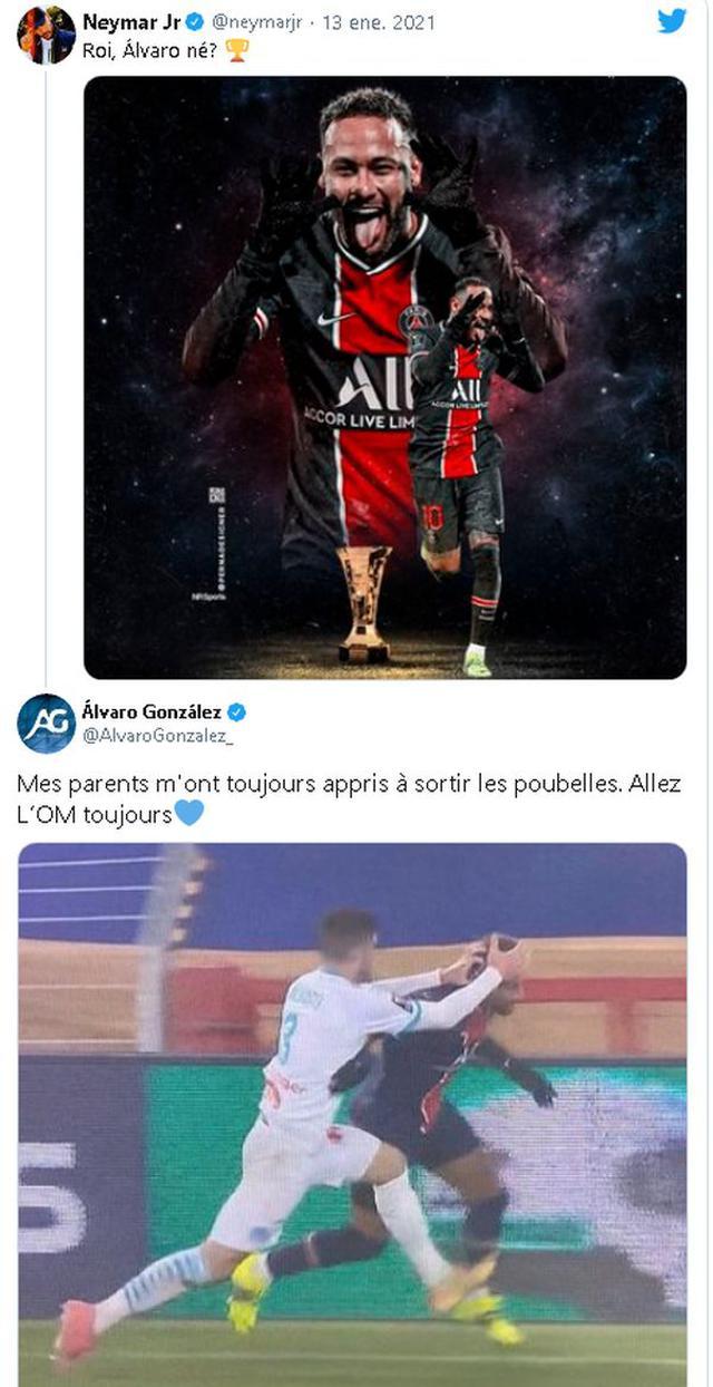 Neymar et le croisement avec Álvaro González sur les réseaux sociaux.  (Capture: Twitter)