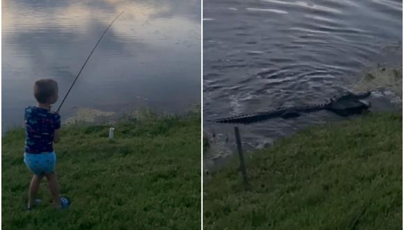 Un niño captura un pez, pero un caimán sale del agua y se lo quita: video se volvió viral. (Foto: Sean McMahon / Facebook)