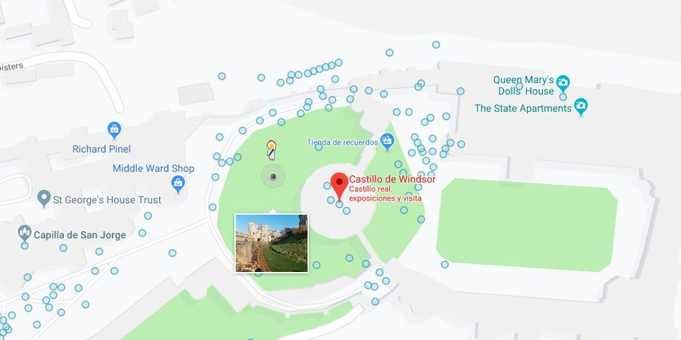 If you search for Windsor Castle, you will see that Google Maps pegman transforms into Queen Elizabeth II. (Photo: Google)