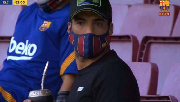 Luis Suárez presente en el partido por el Trofeo Joan Gamper. (Foto: Captura de TV)