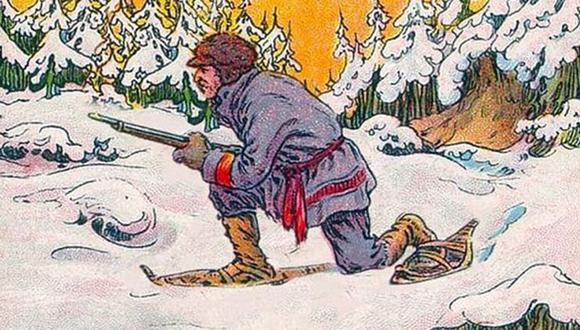 La presente imagen nos muestra a un cazador. Sin embargo, también existe se encuentra un oso que no está a primera vista.