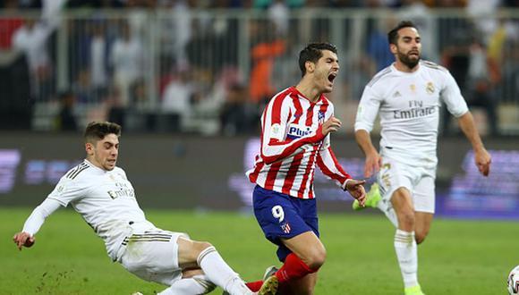 Federico Valverde y la patada que le dio a Morata en la Supercopa. (Foto: Getty Images)