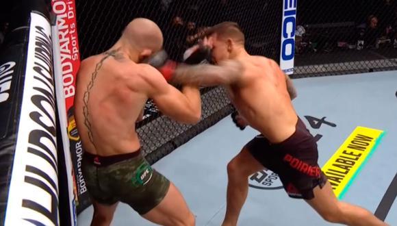 Dustin Poirier se convierte en el primer peleador en vencer por nocaut a Conor McGregor en UFC. Esto sucedió en el segundo asalto. (Foto: Captura Video ESPN)