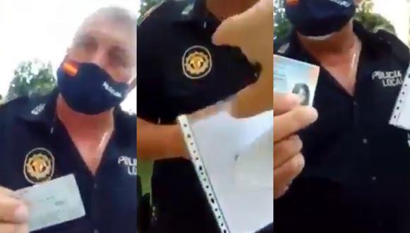 Un video viral muestra a un paciente policía en España lidiando con una mujer que no quería ser multada por no llevar puesta la mascarilla. | Crédito: @Politeia_Cat / Twitter.
