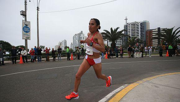 Gladys Tejeda corriendo en la maratón de los Juegos Panamericanos. (Foto: Getty Images)