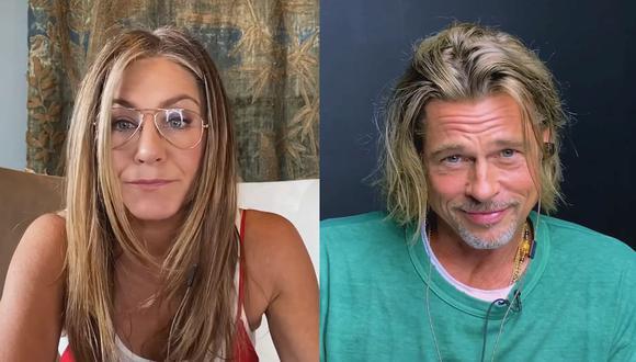 Jennifer Aniston y Brad Pitt protagonizaron un diálogo subido de tono en su reencuentro virtual. (Foto: Captura de video)