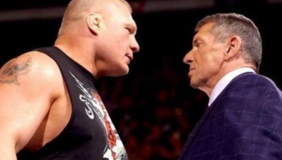 Brock Lesnar y Vince McMahon frente a frente. (Foto: WWE)