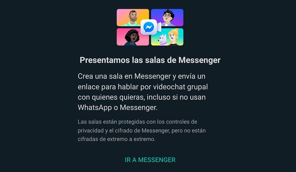 Se te abrirá una ventana para que puedas unificar WhatsApp con Messenger Rooms. (Foto: WhatsApp)