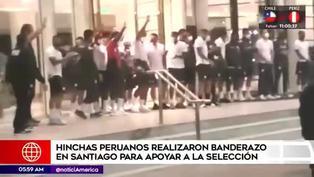 Hinchas de la 'Bicolor' realizaron banderazo en Santiago previo al 'Clásico del Pacífico'