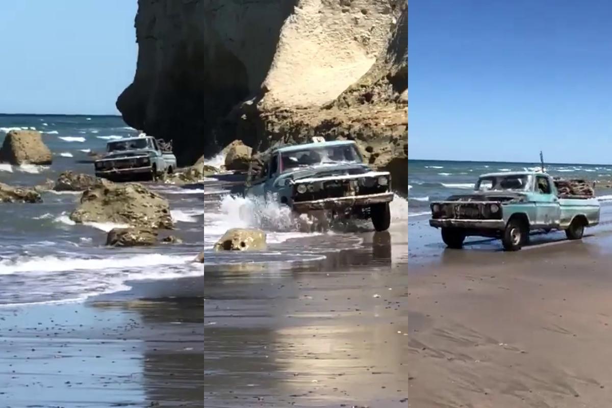 un-verdadero-todo-terreno-pescador-sale-del-mar-con-su-vieja-camioneta-en-increible-video-viral