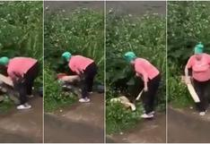 A 'palazos': anciana espanta así a pareja que tenían relaciones en jardín y es viral en redes [VIDEO]