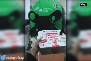 Curioso drone cobra y entrega pizza a domicilio | VIDEO