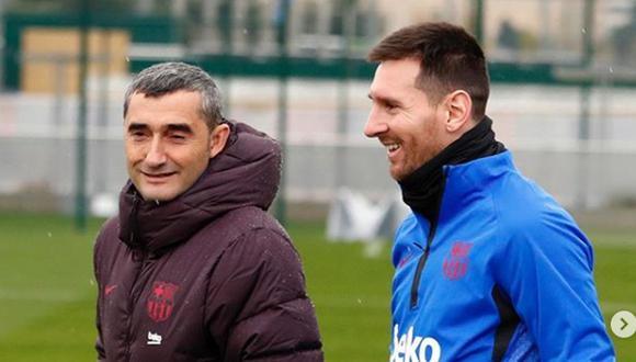 Ernesto Valverde fue DT del FC Barcelona durante dos temporadas y media. (Instagram Leo Messi)