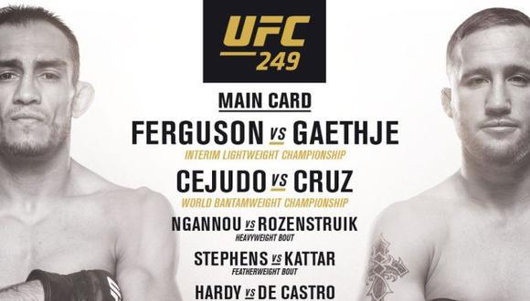 UFC 249: fecha, horarios, canales y cartelera completa del Tony Ferguson vs Justin Gaethje en Florida. (UFC)