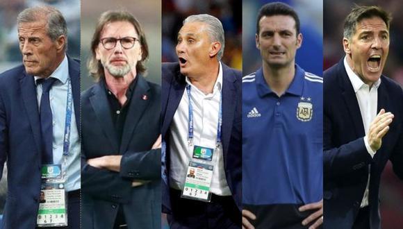 Los técnicos de Sudamérica con más tiempo en sus cargos. (Foto: Agencias / Collage)