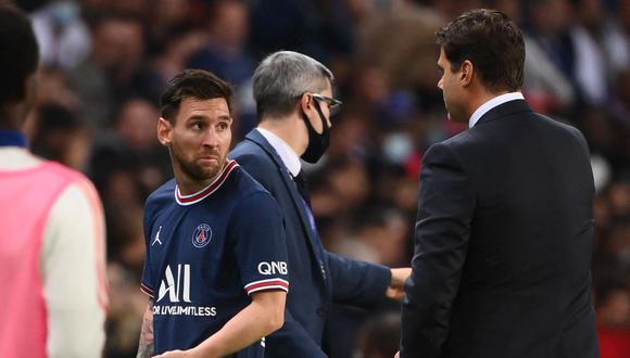 Messi fue sustituido por Pochettino a los 75 minutos del PSG vs Lyon. (Foto: AFP)
