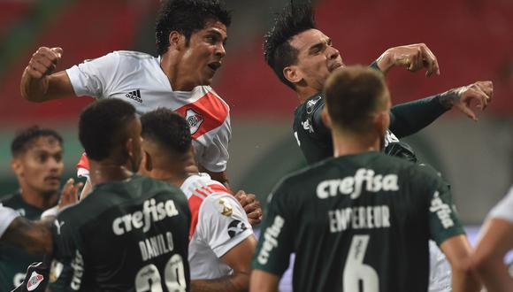 River derrotó a Palmeiras, pero no le alcanzó para llegar a la final de la Copa Libertadores. (Twitter)