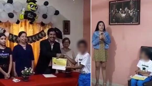 Un niño tuvo una ceremonia de graduación en casa que fue organizada por su propia familia. (Foto: @yamilett.mg / TikTok)