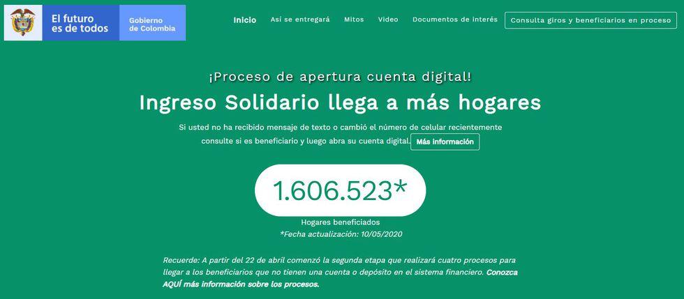 El Gobierno colombiano, a través de la web de DNP, informa la cifra de personas ayudadas con el Ingreso Solidario.