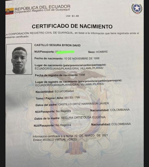 La partida de Byron Castillo que indica que es ecuatoriano. (Foto: Sin Falta)