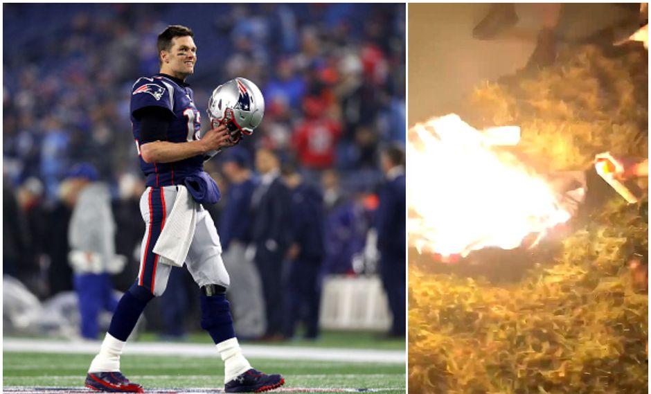 Tom Brady juega como mariscal de campo en los Patriots. Al costado, un hincha quemando su camiseta. (Foto: Getty Images y Surf & Turf Podcast)
