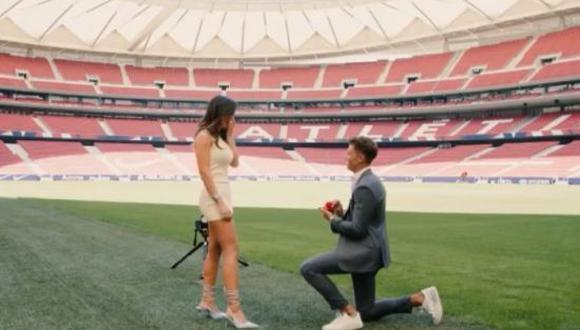 Marcos Llorente le pidió matrimonio a su novia en el Wanda Metropolitano. (Foto: Captura Instagram)