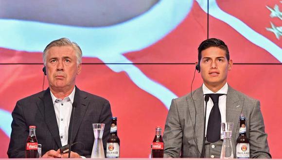 James Rodríguez y Carlo Ancelotti coincidieron también en el Bayern Munich. (Foto: EFE)